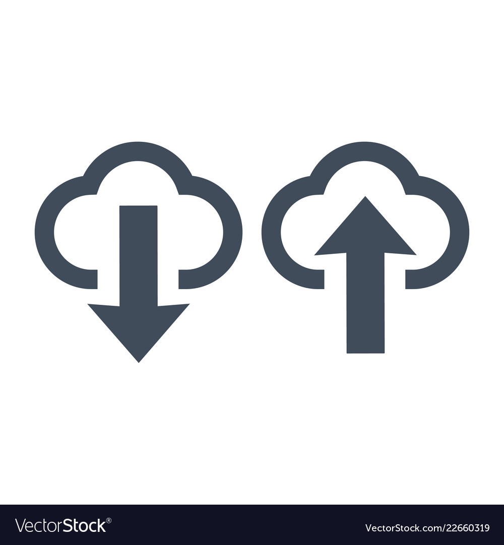 Upload and download icons clouds and arrows
