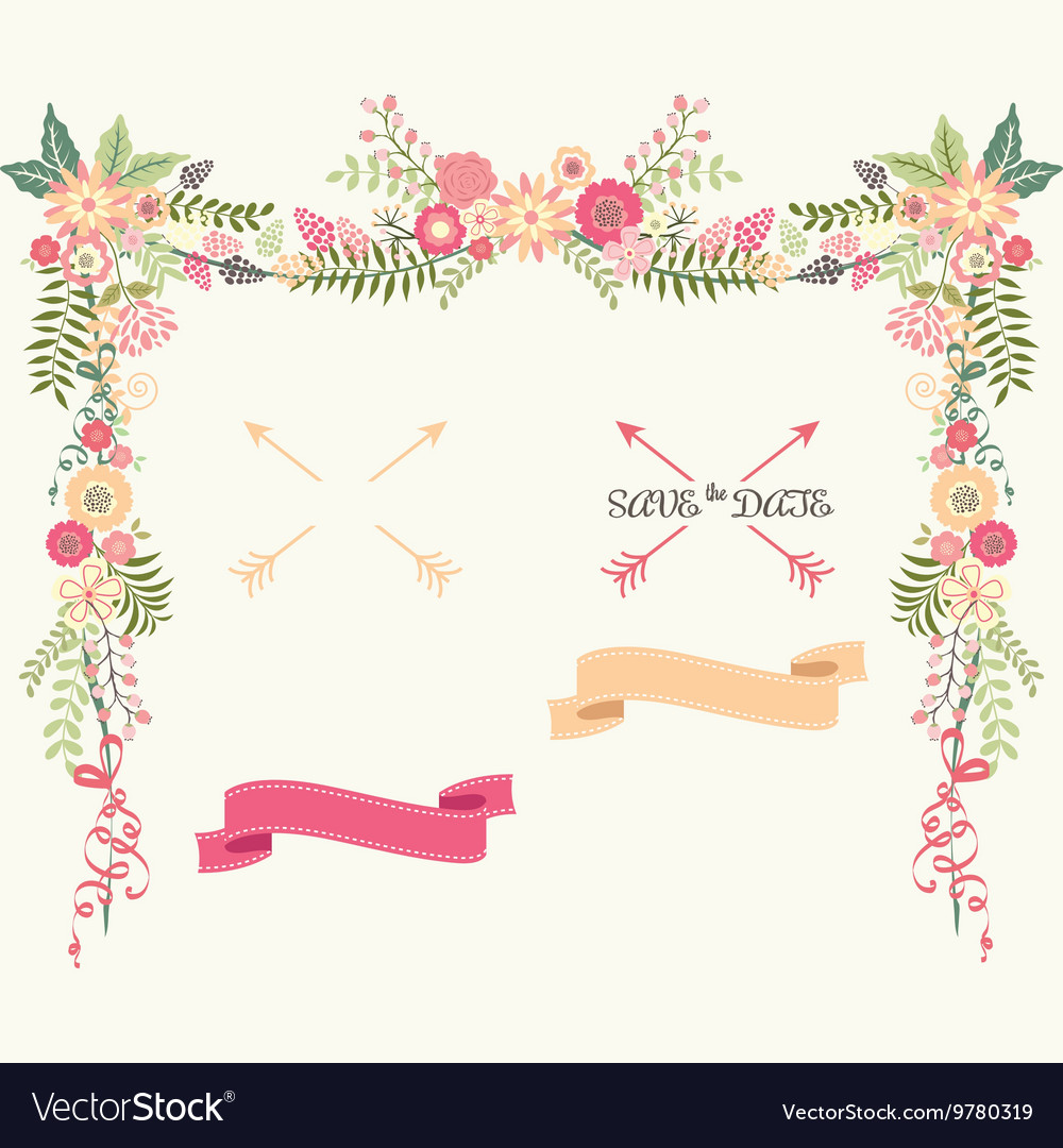 Wedding Floral Elements Save the Date Invitation