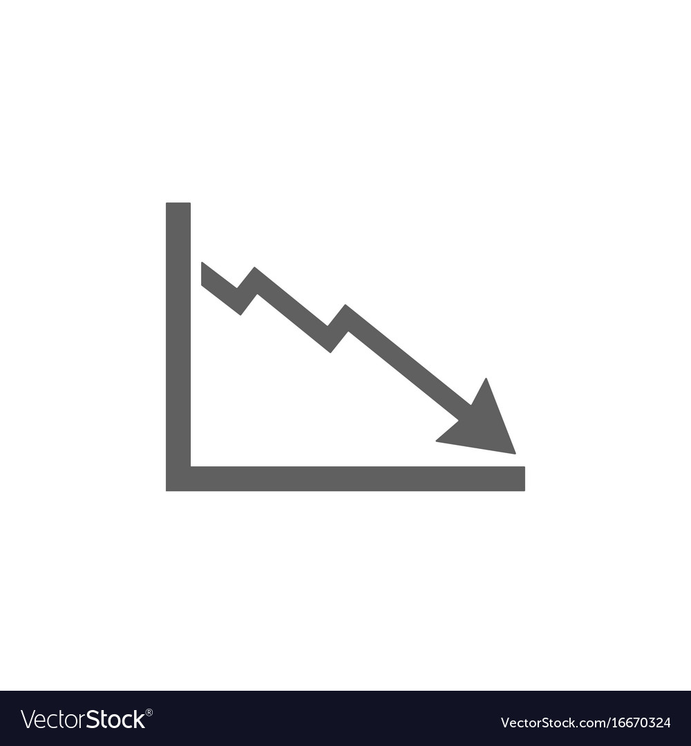 Bankruptcy chart icon on white background vector image