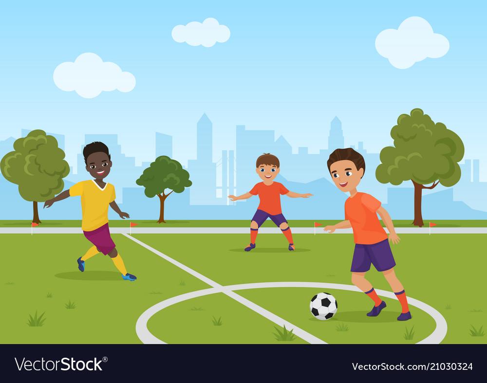 Boys Kids Playing Soccer Football Royalty Free Vector Image