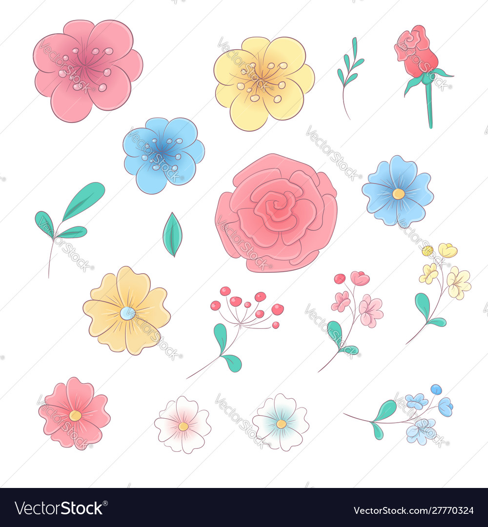 Cartoon hand drawing set flowers and leaves