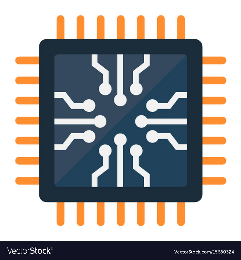 Chip flat icon circuit board and cpu