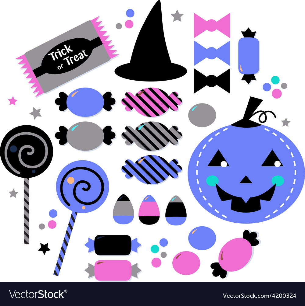 Cute beautiful halloween sweets isolated on white vector image