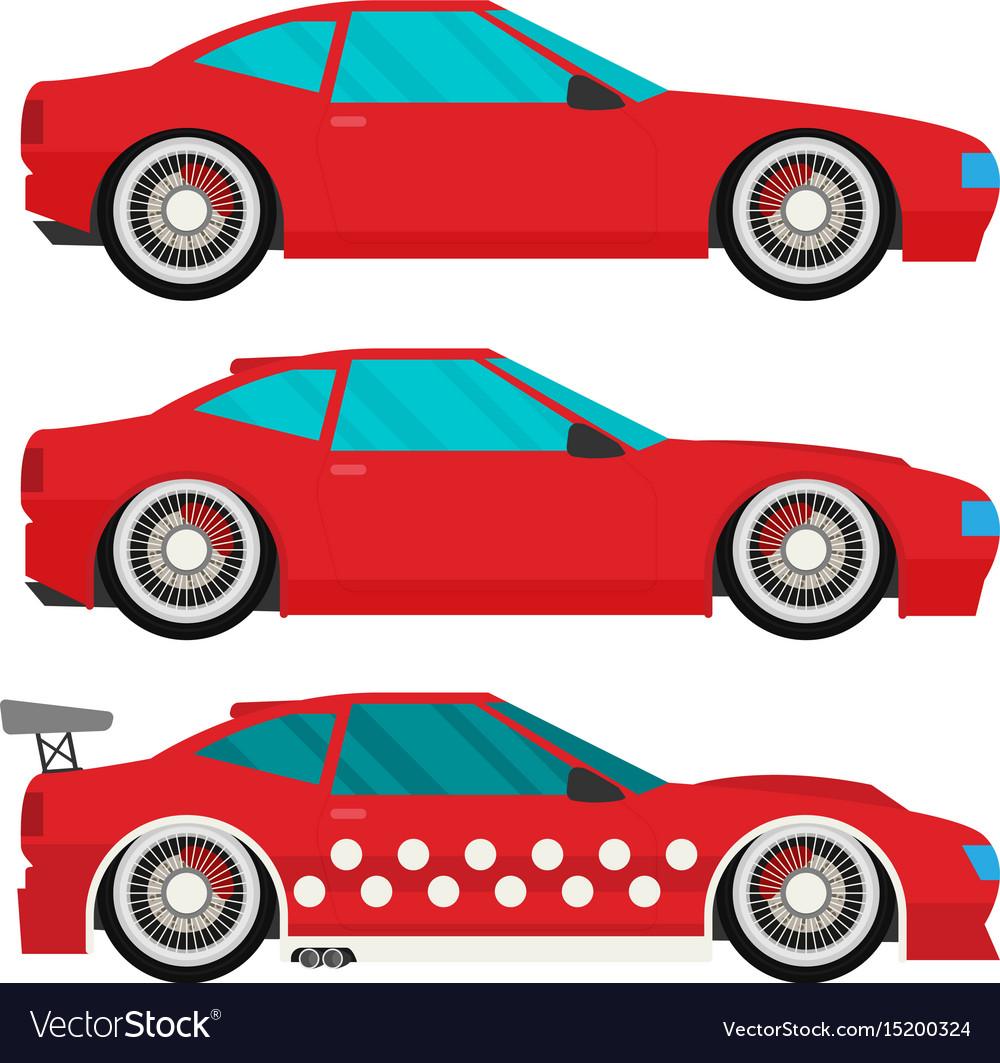 Flat racing car set eps 10
