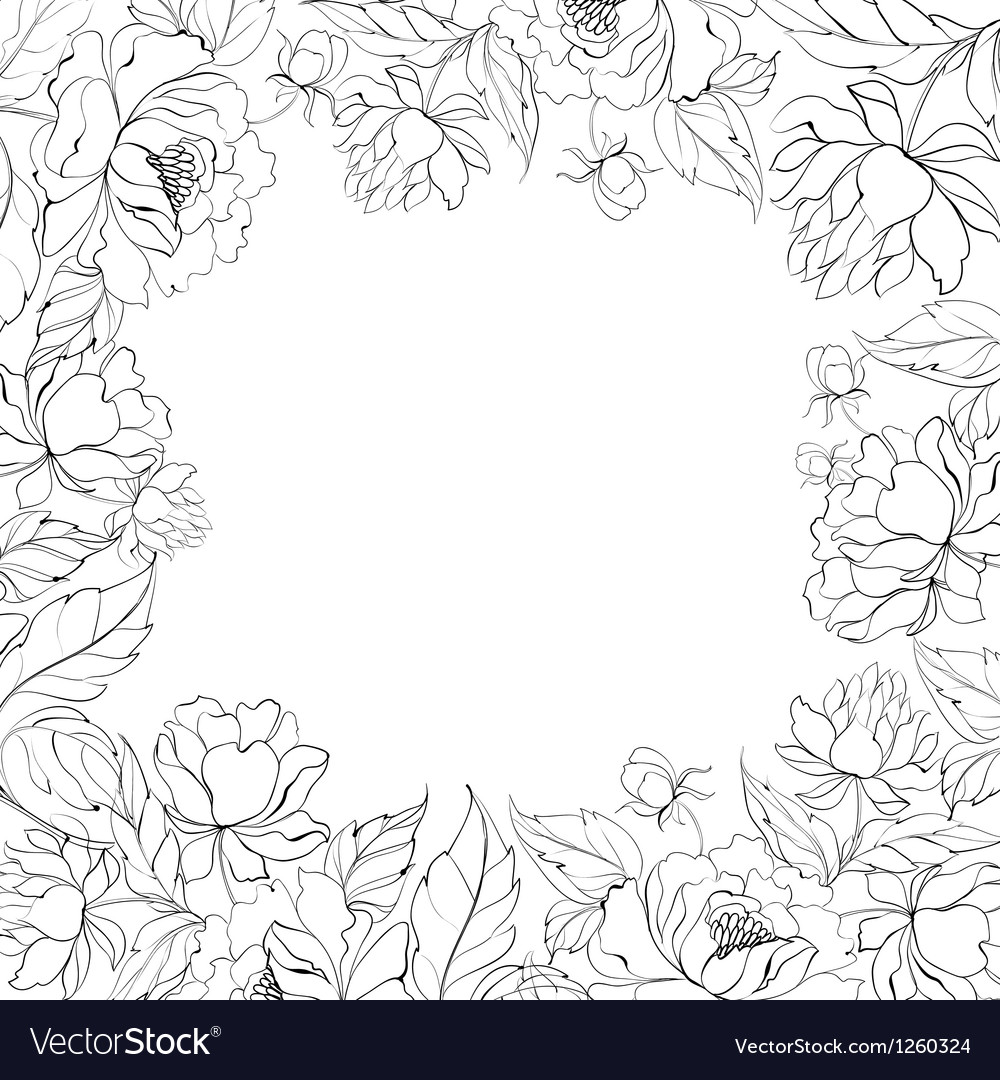 Frame of Peony vector image