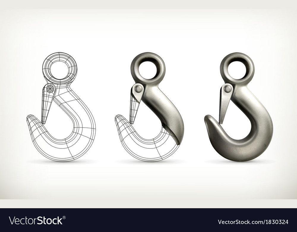 Lifting hook drawing vector image