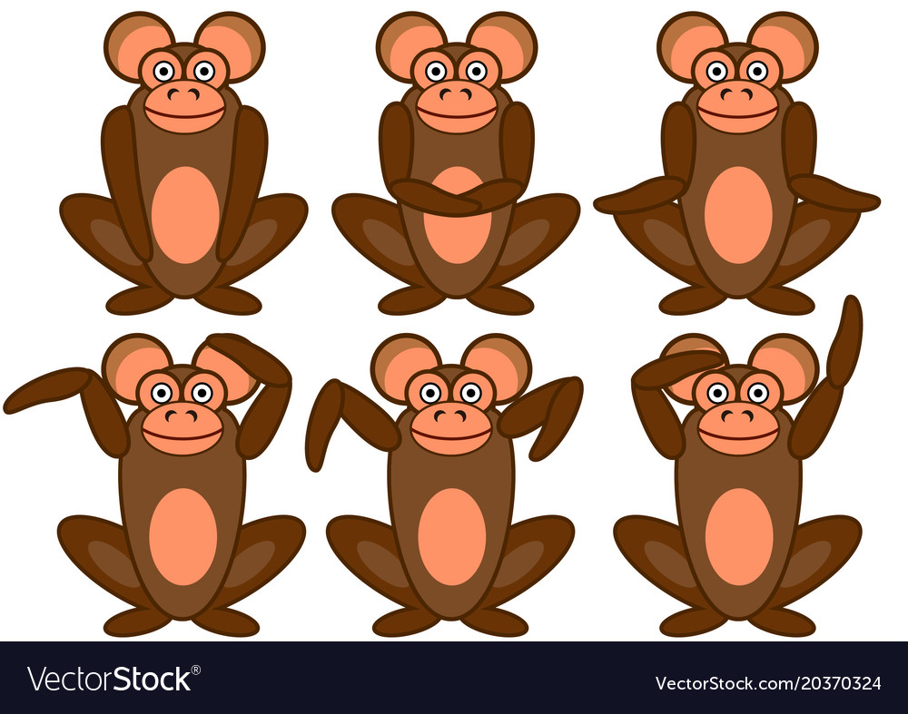 Monkeys sitting in different poses set