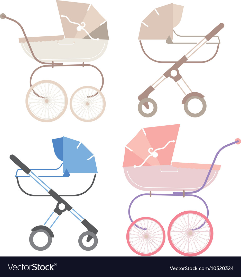 Pram for boy and girl retro and modern