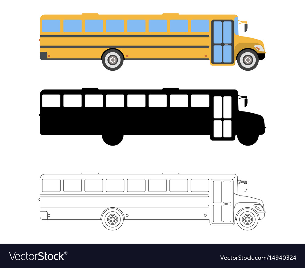 Set of flat school bus icon cartoon outline