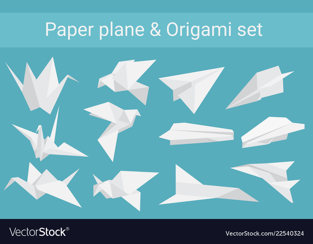 Set paper planes airplane and cranes