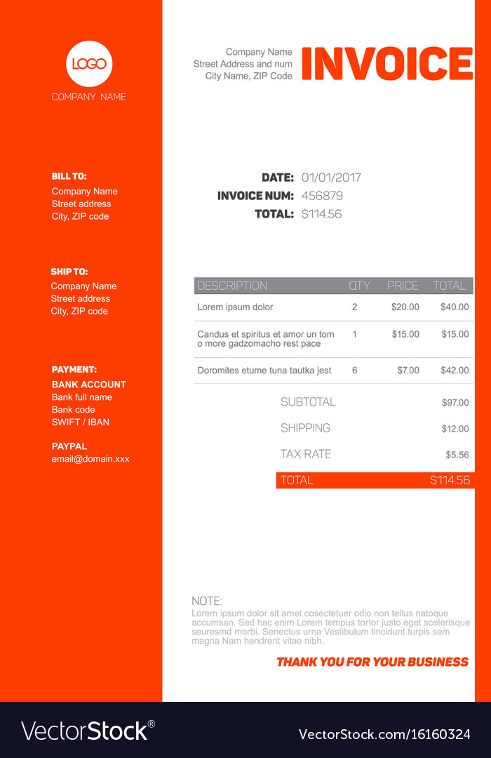 Simple Invoice Template Royalty Free Vector Image