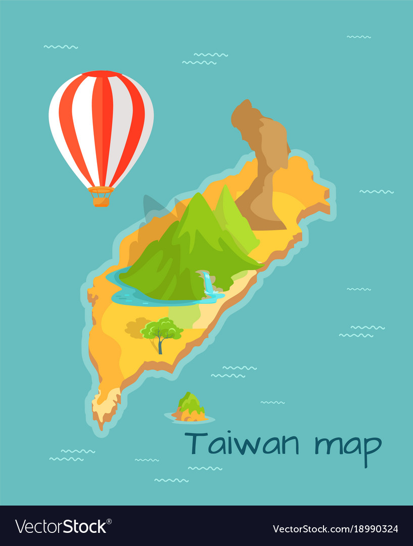 Taiwan map with keelung and dragon mountain