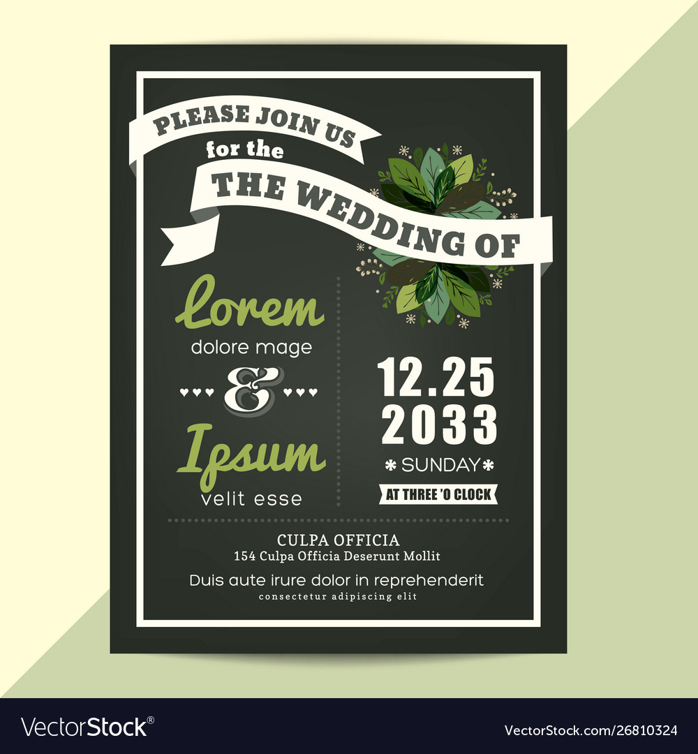 Wedding invitation card with green floral leaves