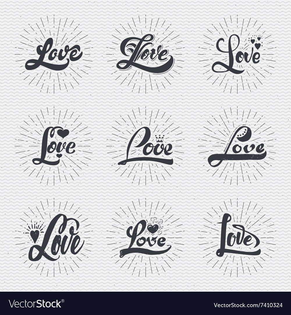Word love badge lettering of emblem can be used to