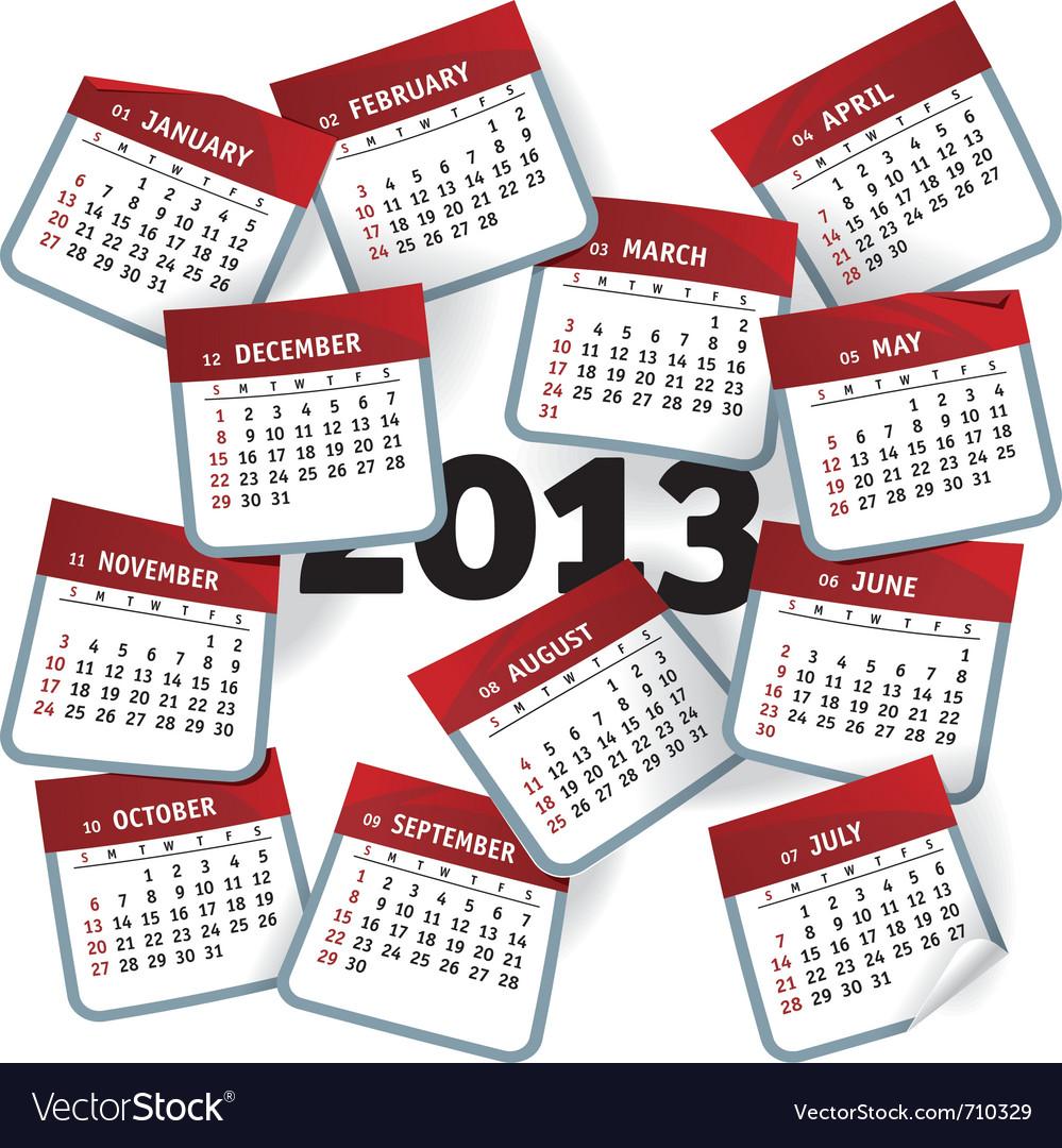 Calendar 2013 template notepad conceptual vector image.
