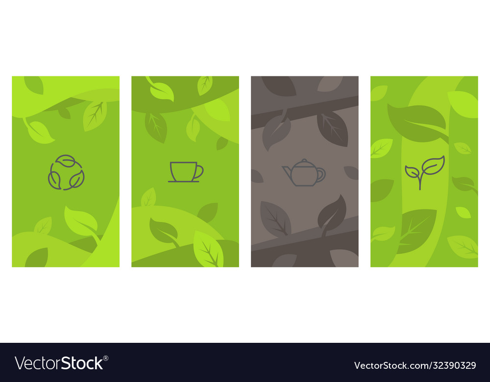 Abstract creative background with tea line icons