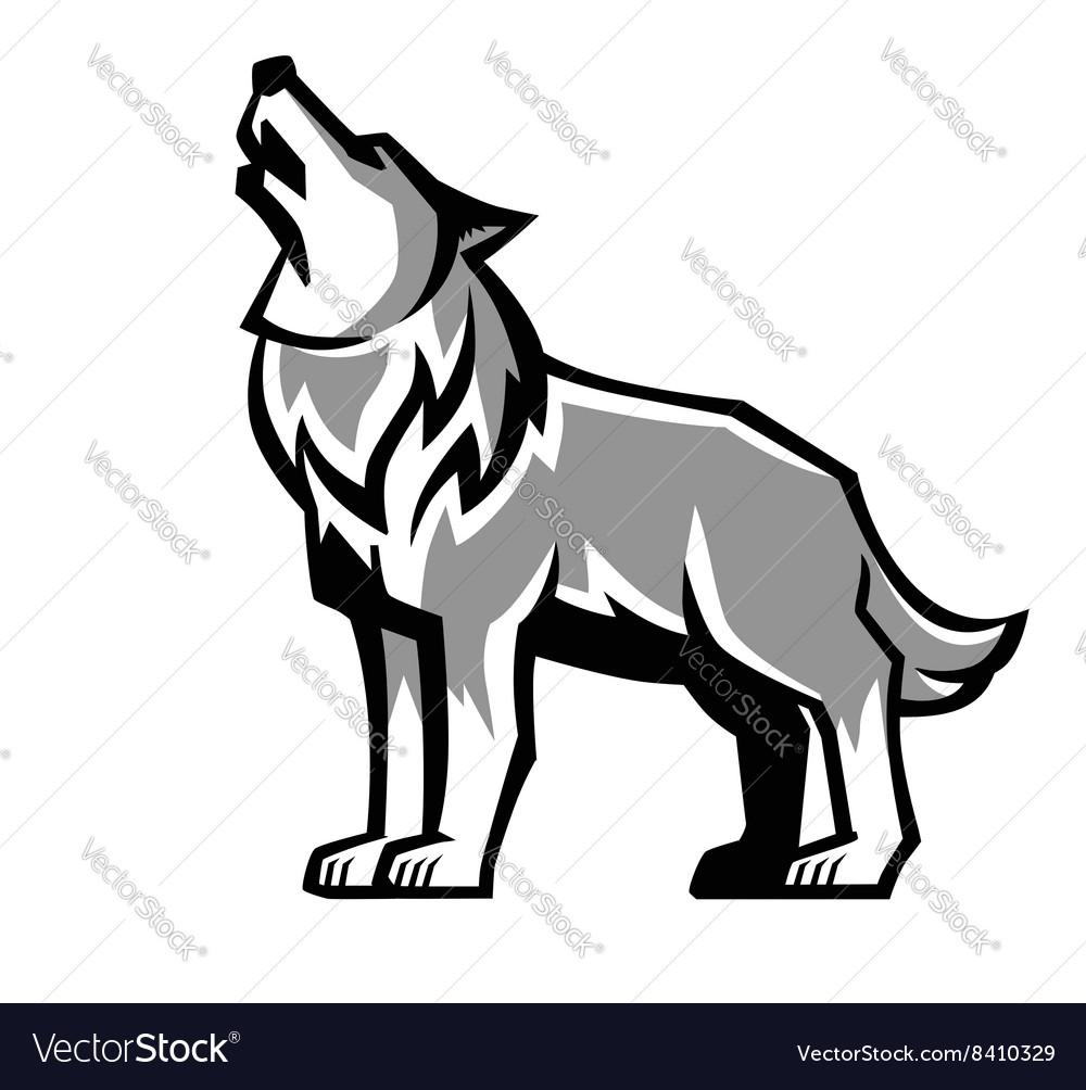 Black Wolf Howl Emblem Royalty Free Vector Image