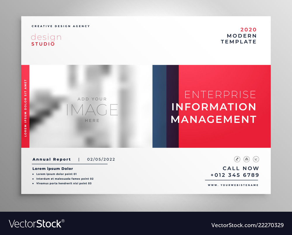 Brochure presentation design template in red color