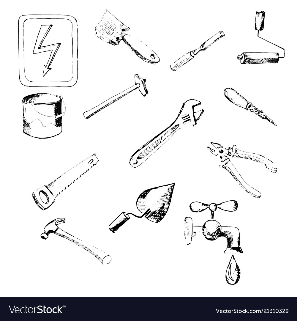 Building tool icons hand drawn pencil sketch vector image