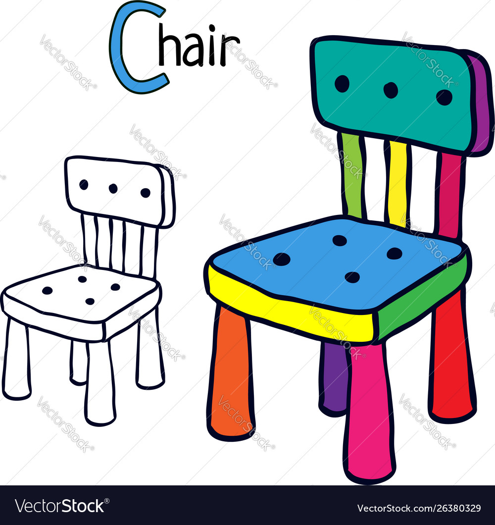 Chair coloring book page vector