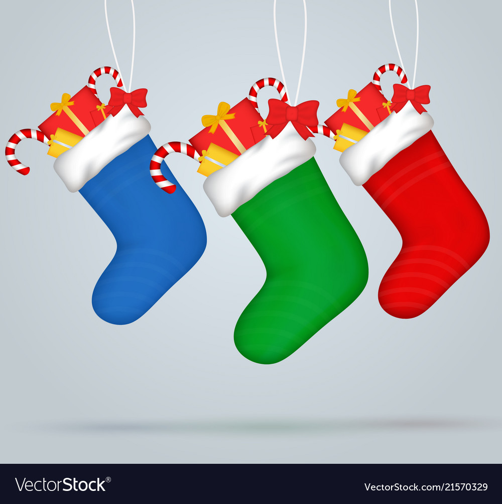 Christmas socks set of festive decorations with
