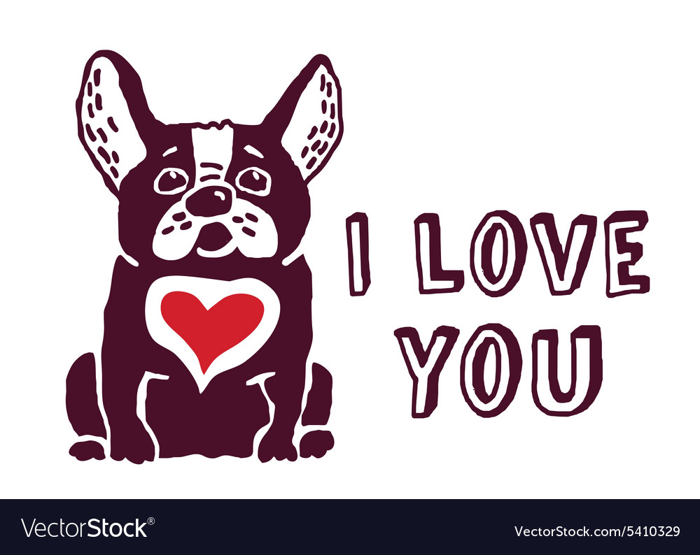 I love you cute dog red heart card vector image