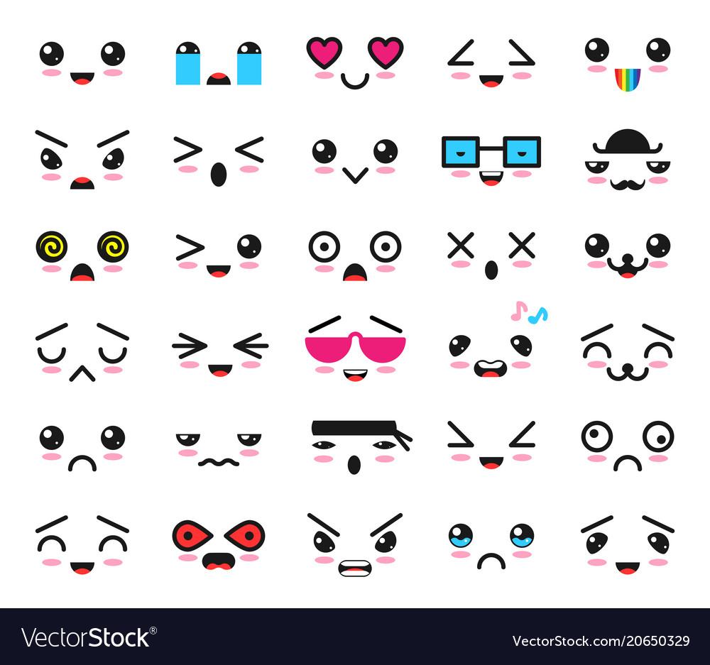 Kawaii emoticon cartoon emotion character