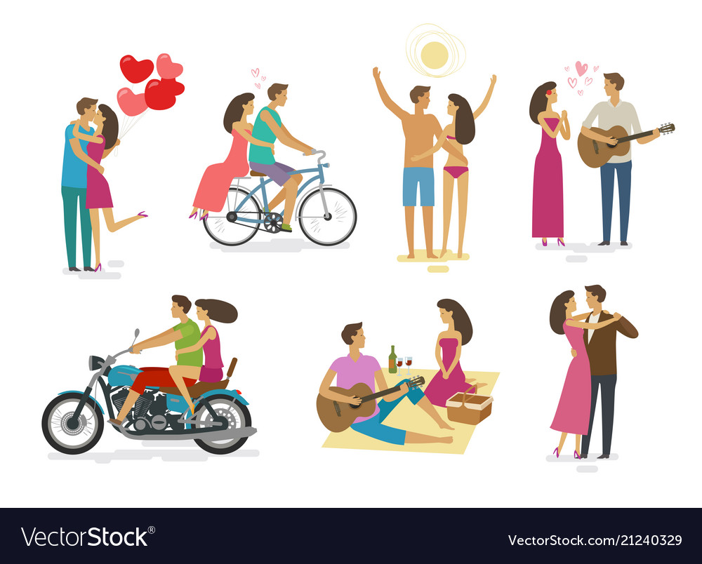 Loving couple set of icons family love concept