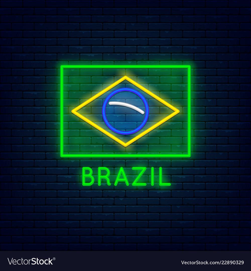 Neon brazil flag