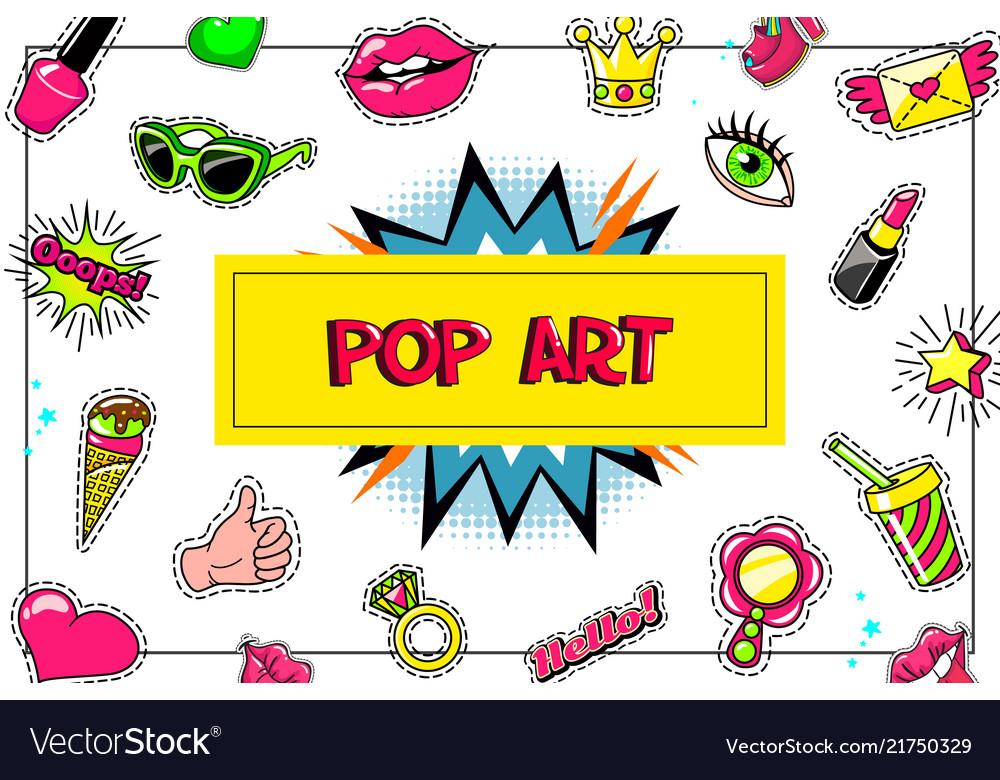 Pop art fashion stickers concept
