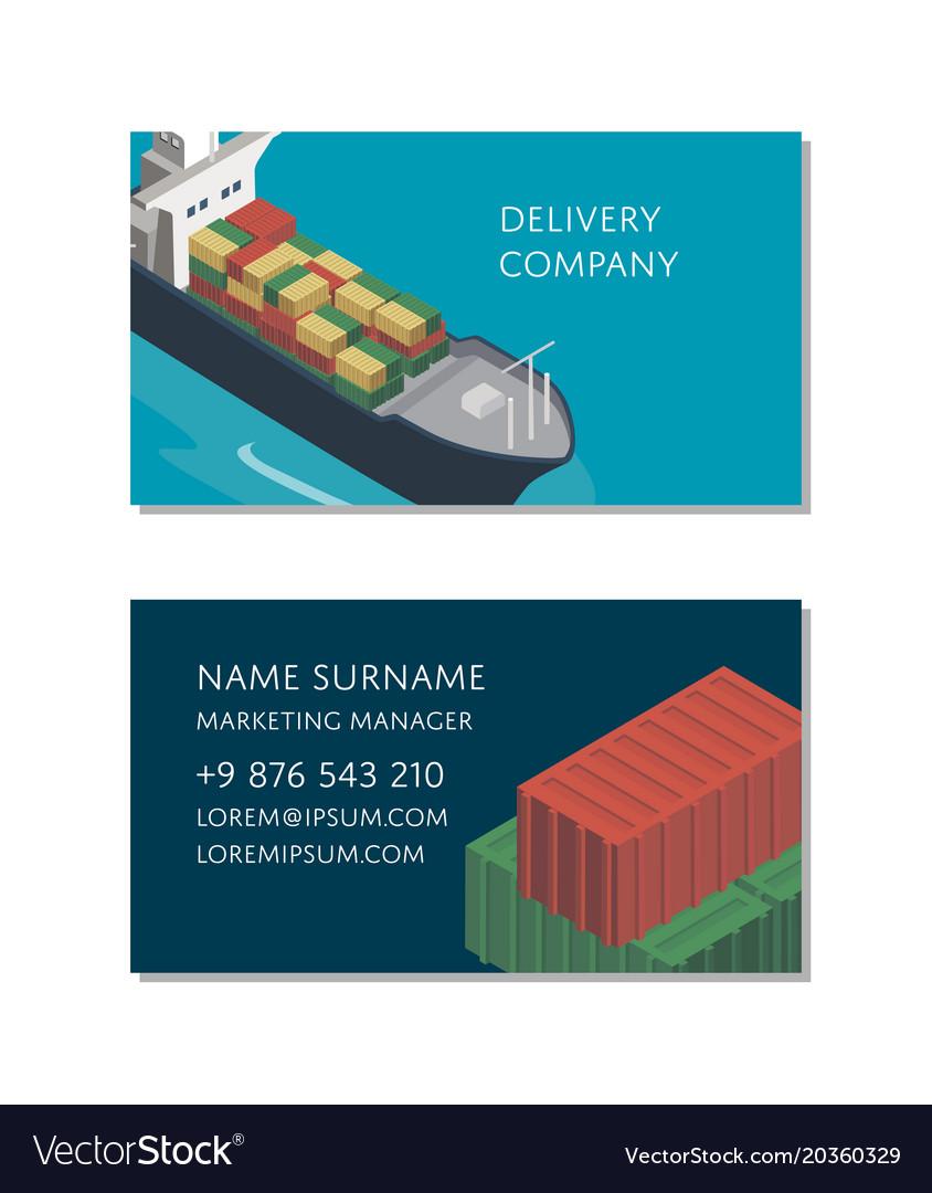 Sea shipping logistics business card template vector image colourmoves