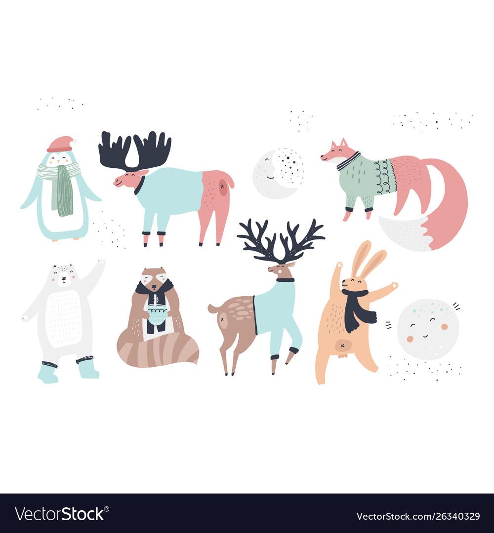 Woodland animals flat characters set