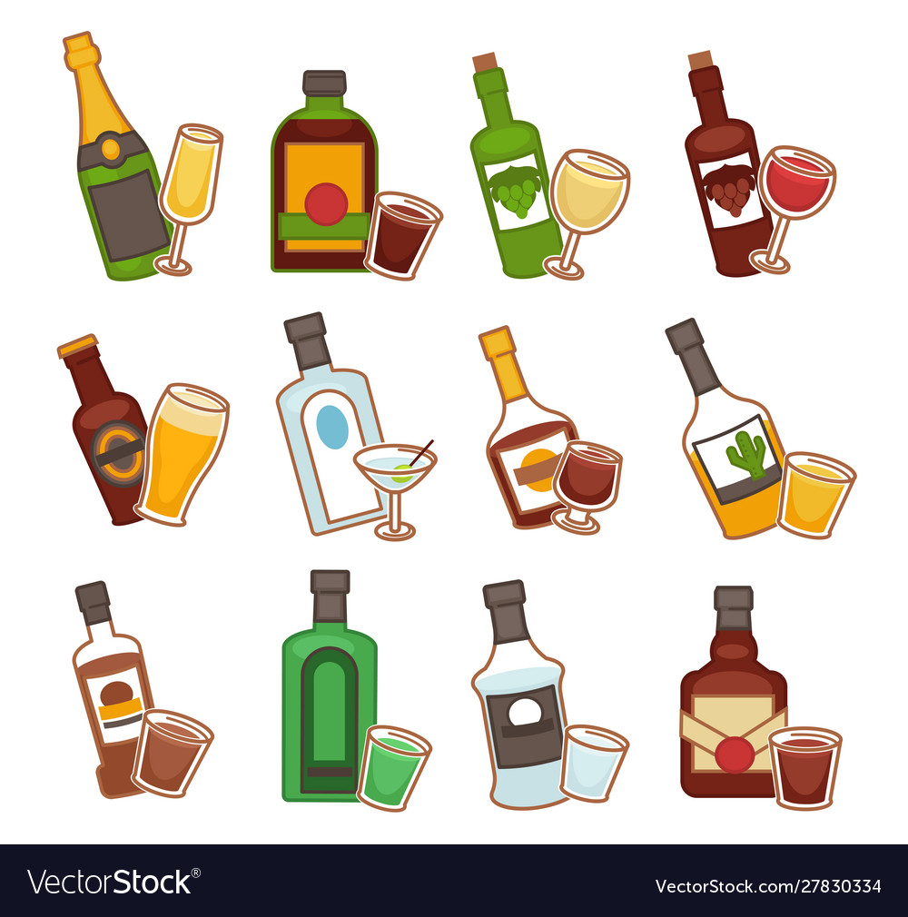 Bar alcohol drinks bottles and glasses isolated