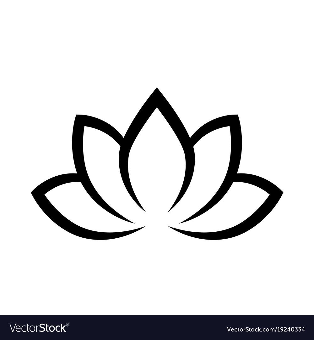 Black calligraphic lotus blossom yoga symbol vector image