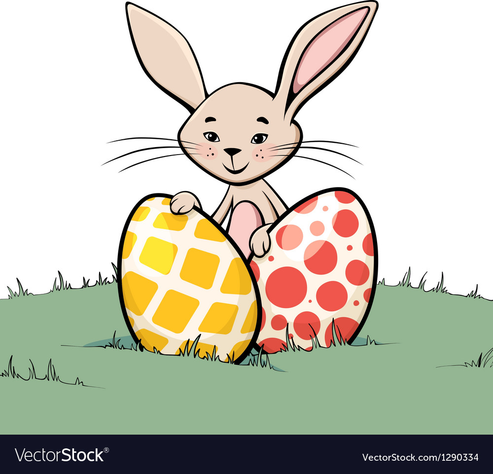 Bunny with two easter eggs vector image