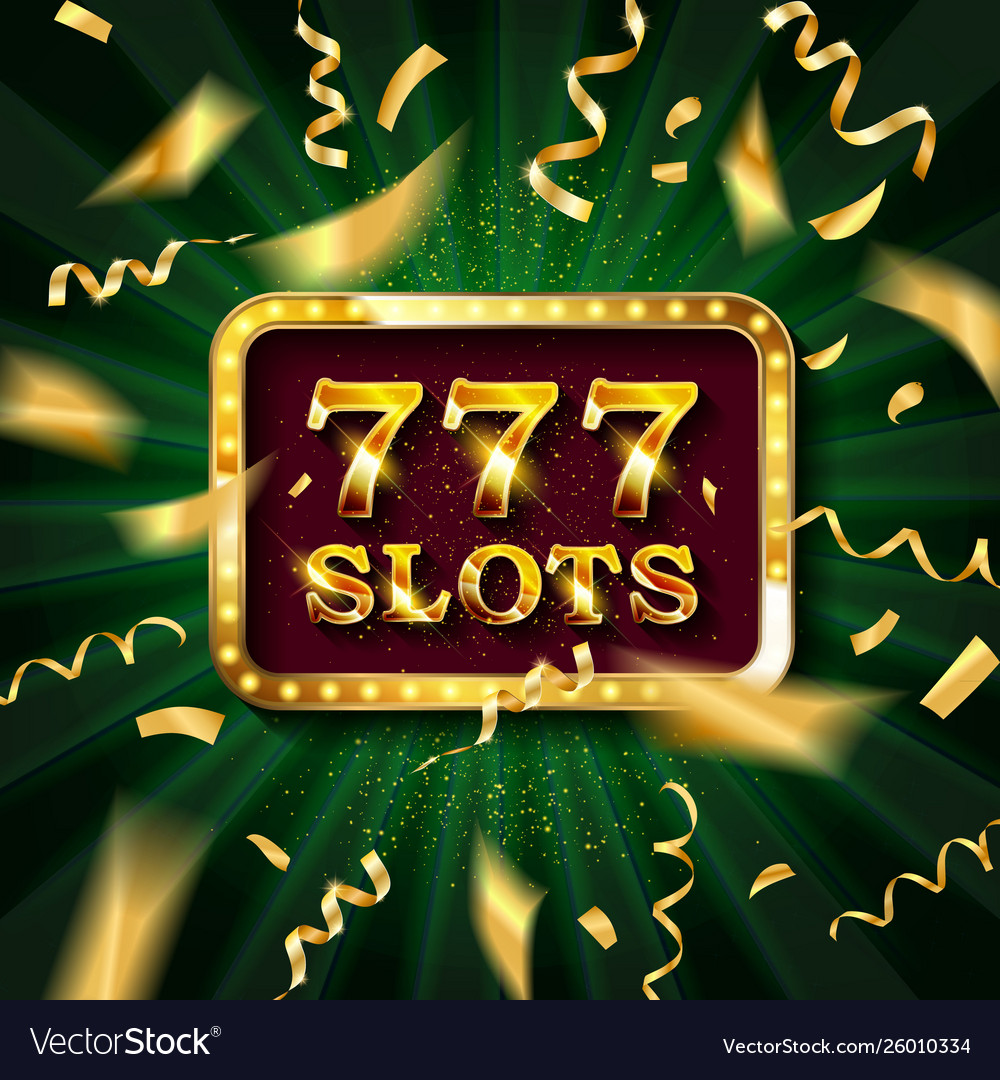 Golden slot machine with flying golden confetti