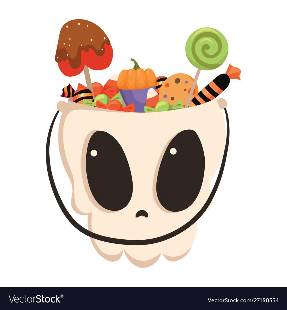 Halloween bucket in shape a skull filled