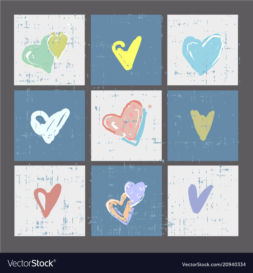 Set of grunge hearts cards or prints poster
