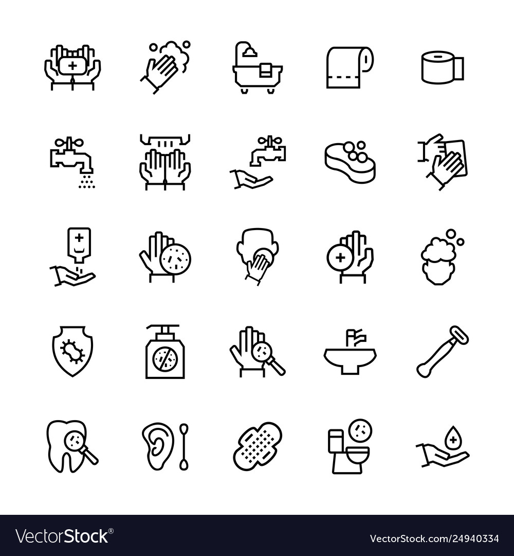 Simple icon set hygiene items in thin line