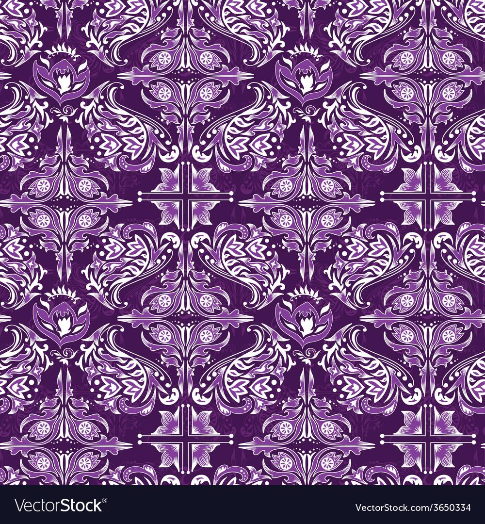 White on purple damask pattern