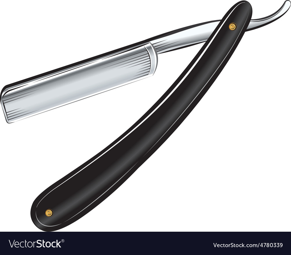 Antique straight razor on white background vector image
