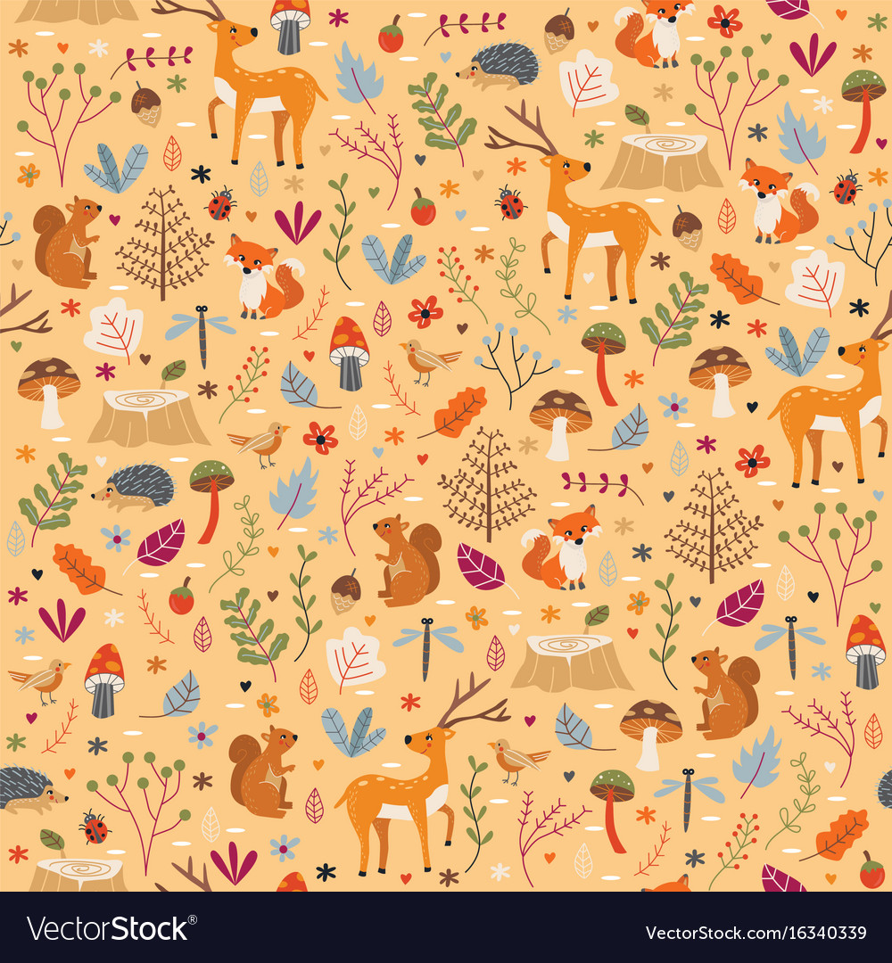 Autumn forest pattern seamless print
