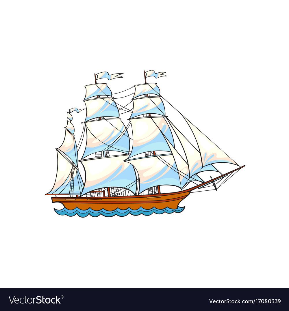 Beautiful sailing ship sailboat with white sails