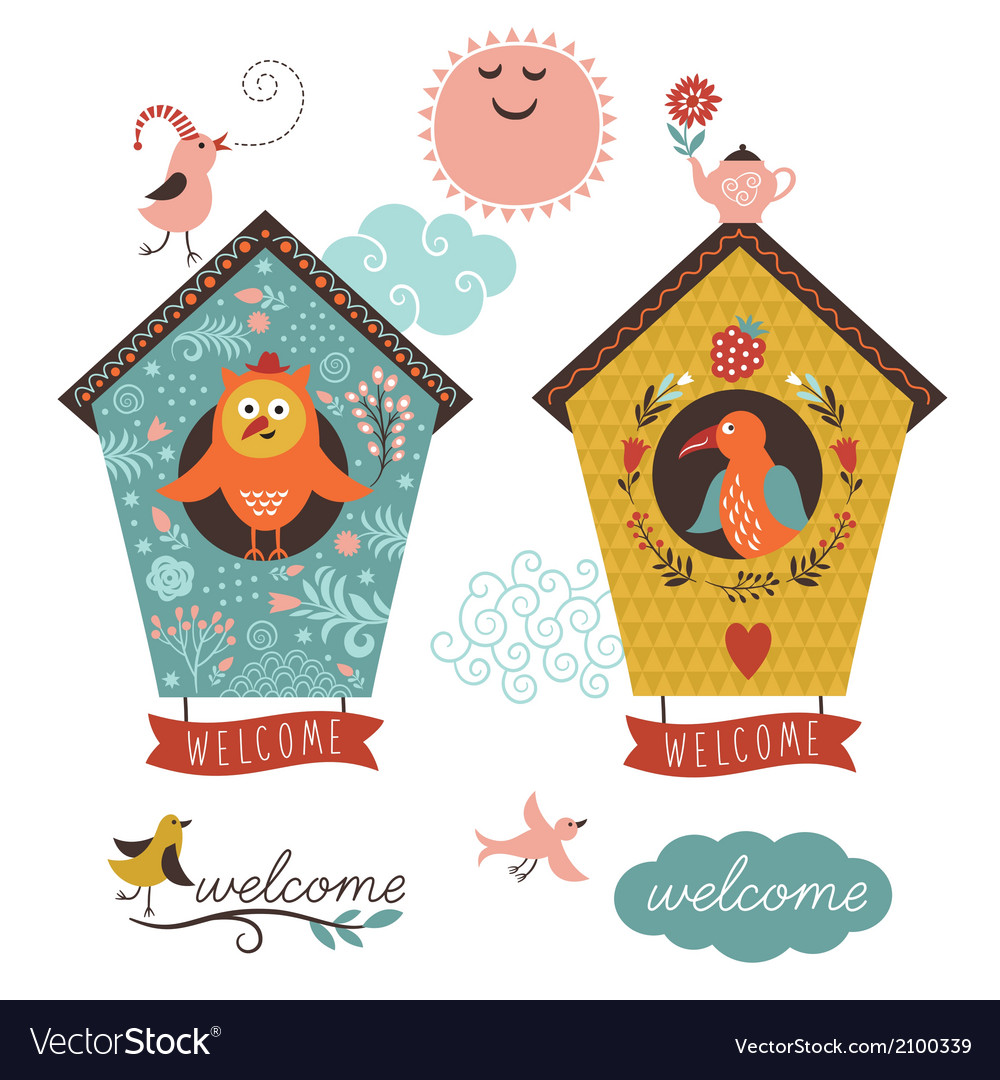 Birdhouses and welcome home lettering vector image