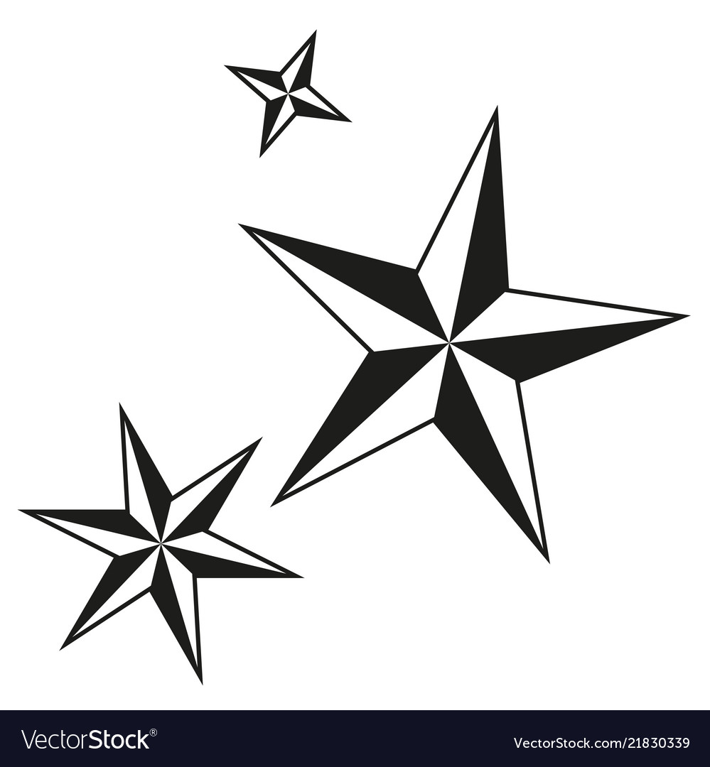 Christmas Star Silhouette.Black And White Christmas Stars Silhouette Set