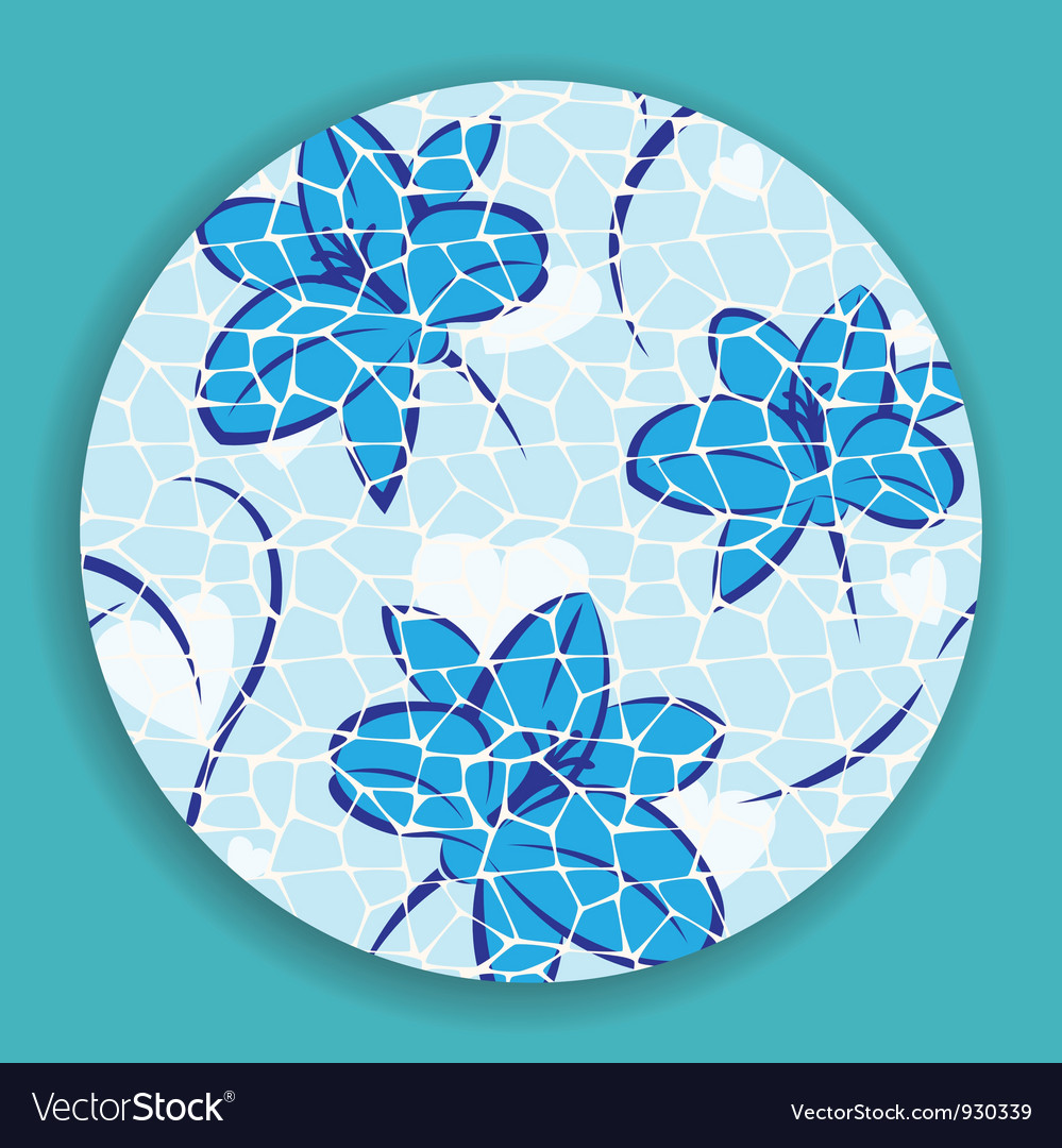 Blue Mosaic Flower