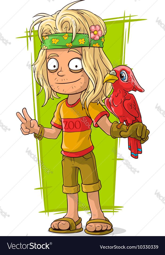 Cartoon hippie man with red bird