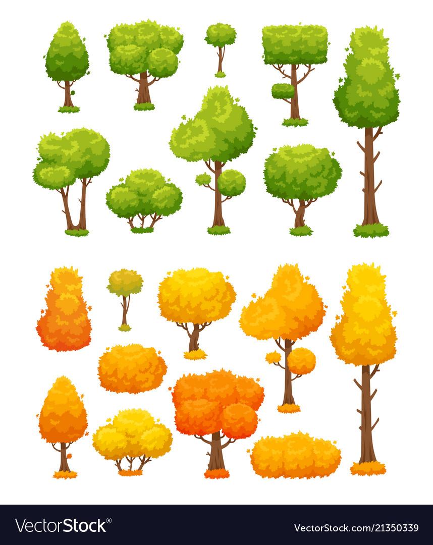 Cartoon tree cute wood plants and bushes green