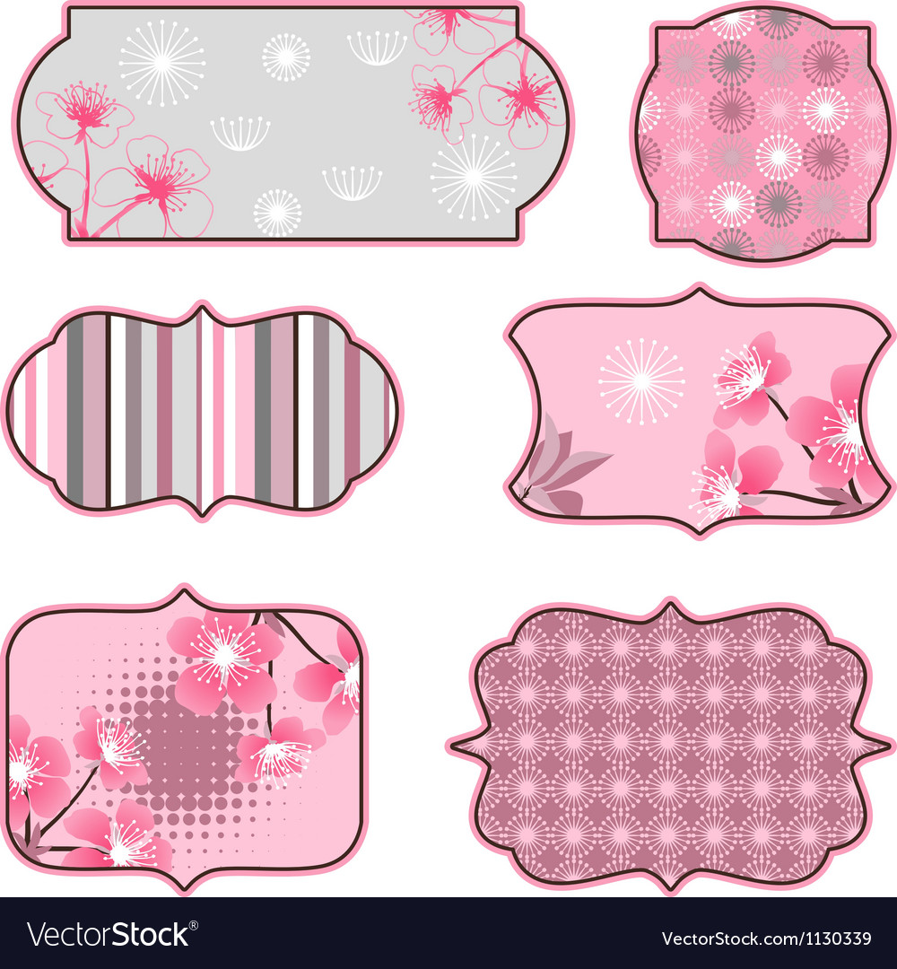 Cherry blossoms design elements labels and vector image