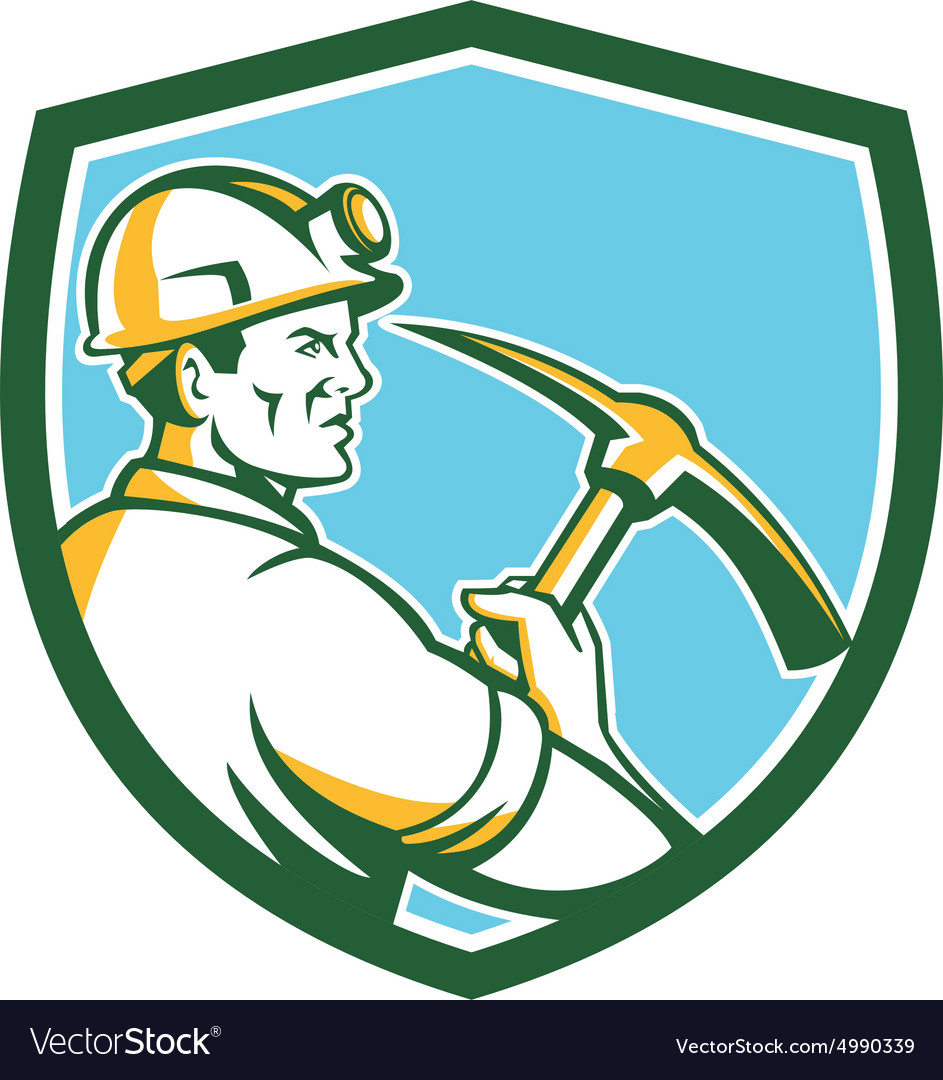 Coal Miner Hardhat With Pick Axe Side Shield Retro vector image